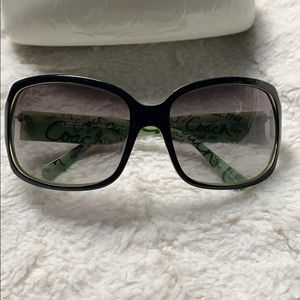 Gorgeous Two-Toned Coach Black & Green Sunglasses